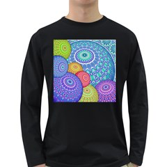 India Ornaments Mandala Balls Multicolored Long Sleeve Dark T Shirts