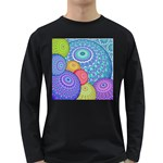 India Ornaments Mandala Balls Multicolored Long Sleeve Dark T-Shirts Front