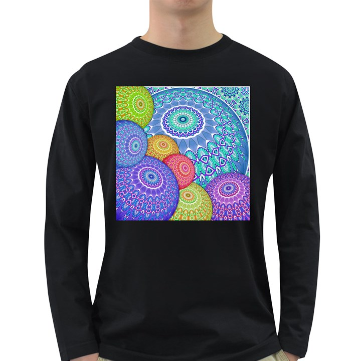 India Ornaments Mandala Balls Multicolored Long Sleeve Dark T-Shirts
