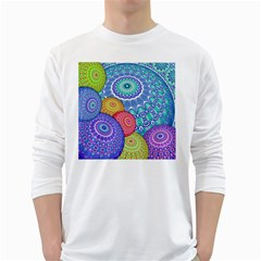 India Ornaments Mandala Balls Multicolored White Long Sleeve T-Shirts