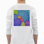 India Ornaments Mandala Balls Multicolored White Long Sleeve T-Shirts Back