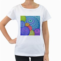 India Ornaments Mandala Balls Multicolored Women s Loose Fit T Shirt (white)