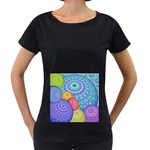 India Ornaments Mandala Balls Multicolored Women s Loose-Fit T-Shirt (Black) Front