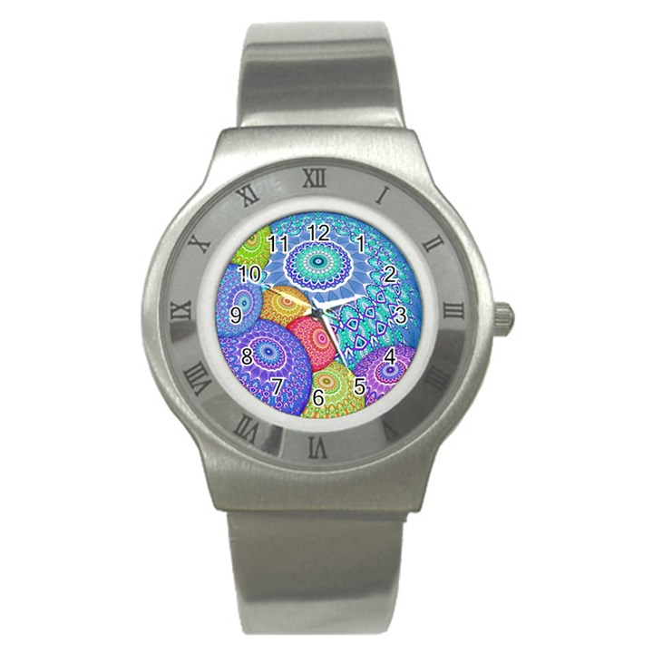 India Ornaments Mandala Balls Multicolored Stainless Steel Watch