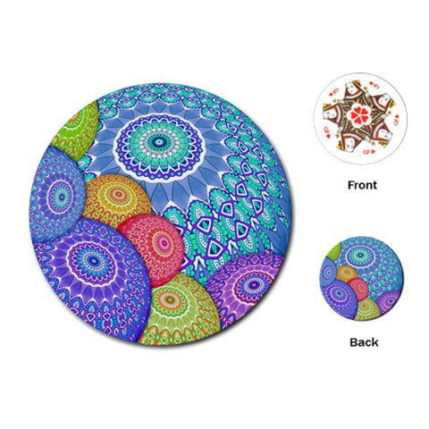 India Ornaments Mandala Balls Multicolored Playing Cards (Round)