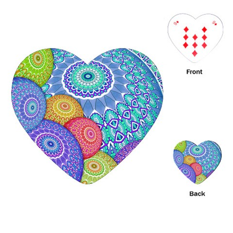 India Ornaments Mandala Balls Multicolored Playing Cards (Heart)
