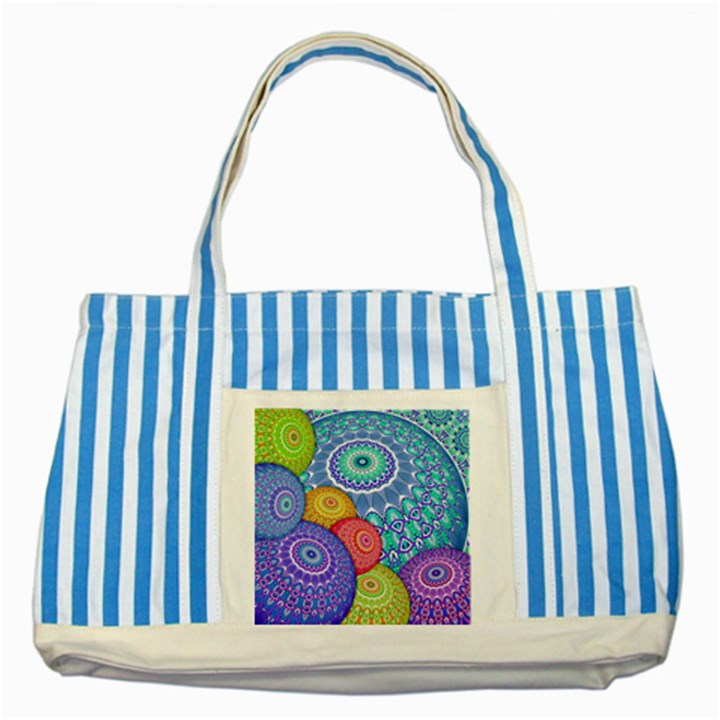 India Ornaments Mandala Balls Multicolored Striped Blue Tote Bag