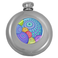India Ornaments Mandala Balls Multicolored Round Hip Flask (5 oz)