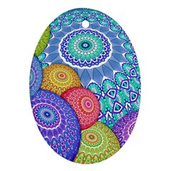India Ornaments Mandala Balls Multicolored Oval Ornament (two Sides)