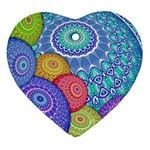India Ornaments Mandala Balls Multicolored Heart Ornament (2 Sides) Back