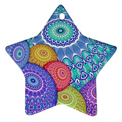 India Ornaments Mandala Balls Multicolored Star Ornament (two Sides)
