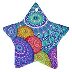 India Ornaments Mandala Balls Multicolored Star Ornament (Two Sides)  Back