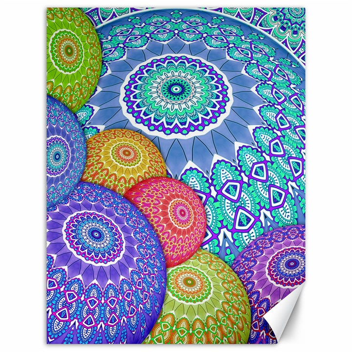 India Ornaments Mandala Balls Multicolored Canvas 12  x 16