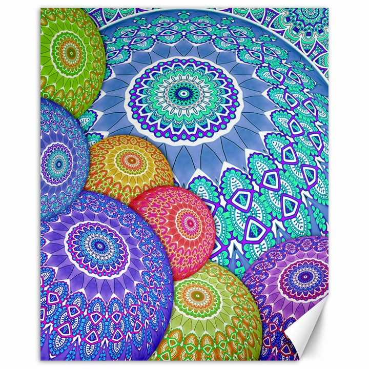 India Ornaments Mandala Balls Multicolored Canvas 16  x 20