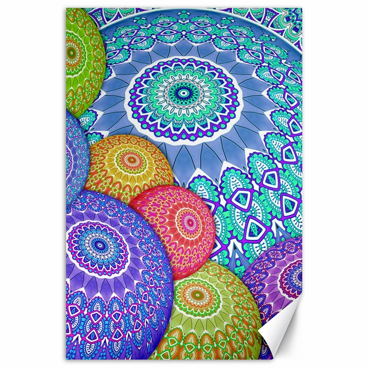 India Ornaments Mandala Balls Multicolored Canvas 24  x 36