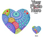 India Ornaments Mandala Balls Multicolored Playing Cards 54 (Heart)  Front - HeartK