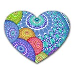 India Ornaments Mandala Balls Multicolored Heart Mousepads Front