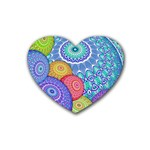 India Ornaments Mandala Balls Multicolored Heart Coaster (4 pack)  Front