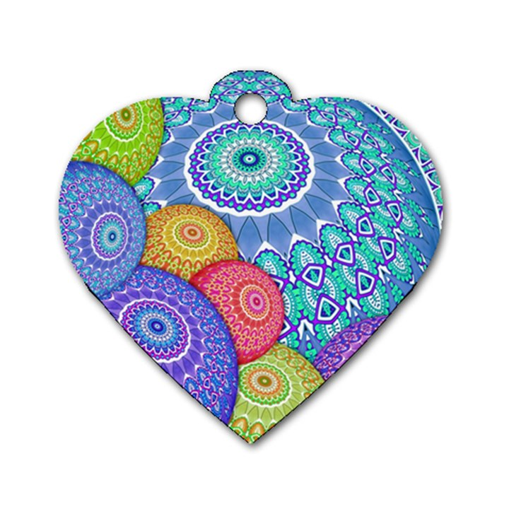 India Ornaments Mandala Balls Multicolored Dog Tag Heart (One Side)