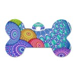 India Ornaments Mandala Balls Multicolored Dog Tag Bone (Two Sides) Back