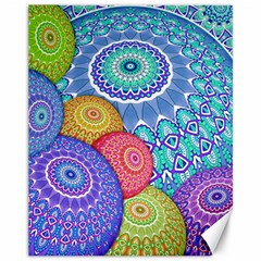 India Ornaments Mandala Balls Multicolored Canvas 11  x 14