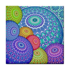 India Ornaments Mandala Balls Multicolored Face Towel