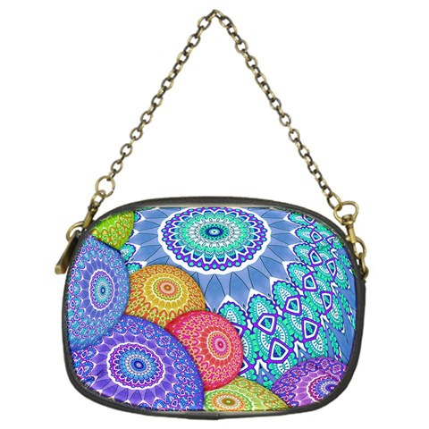 India Ornaments Mandala Balls Multicolored Chain Purses (One Side)