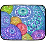 India Ornaments Mandala Balls Multicolored Fleece Blanket (Mini) 35 x27 Blanket