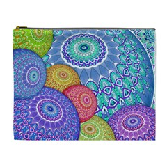 India Ornaments Mandala Balls Multicolored Cosmetic Bag (XL)