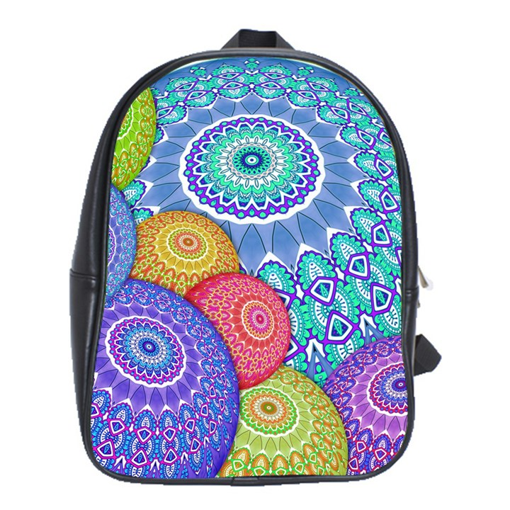 India Ornaments Mandala Balls Multicolored School Bags(Large)