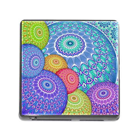 India Ornaments Mandala Balls Multicolored Memory Card Reader (Square)