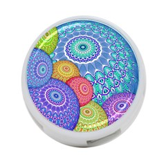 India Ornaments Mandala Balls Multicolored 4-Port USB Hub (Two Sides)
