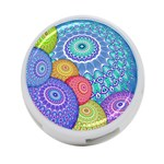 India Ornaments Mandala Balls Multicolored 4-Port USB Hub (Two Sides)  Back