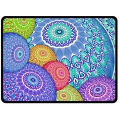 India Ornaments Mandala Balls Multicolored Fleece Blanket (large)
