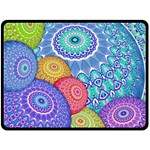 India Ornaments Mandala Balls Multicolored Fleece Blanket (Large)  80 x60 Blanket Front