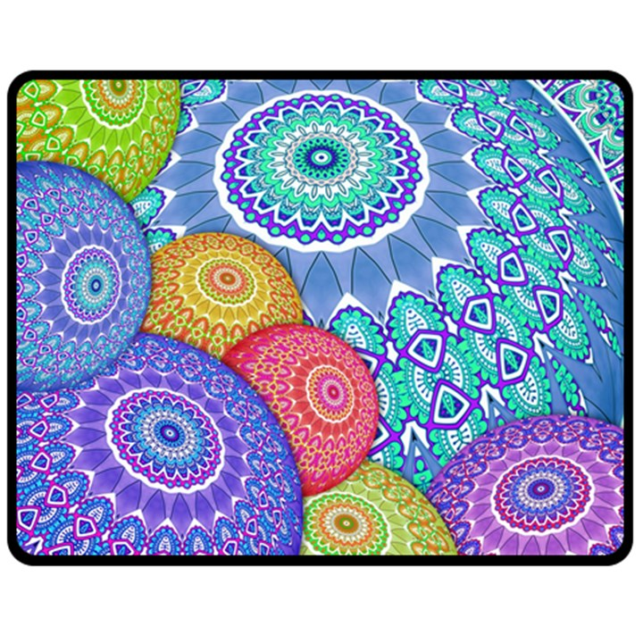 India Ornaments Mandala Balls Multicolored Fleece Blanket (Medium)