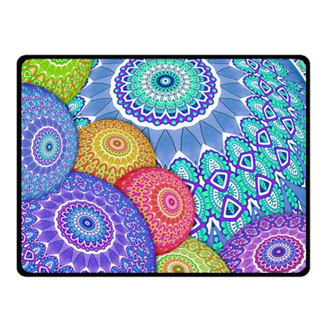 India Ornaments Mandala Balls Multicolored Fleece Blanket (Small)