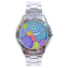 India Ornaments Mandala Balls Multicolored Stainless Steel Analogue Watch