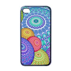 India Ornaments Mandala Balls Multicolored Apple Iphone 4 Case (black)