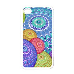 India Ornaments Mandala Balls Multicolored Apple iPhone 4 Case (White)