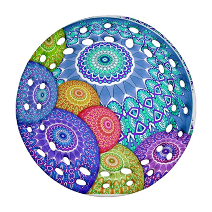 India Ornaments Mandala Balls Multicolored Ornament (Round Filigree)