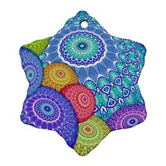India Ornaments Mandala Balls Multicolored Snowflake Ornament (2 Side)