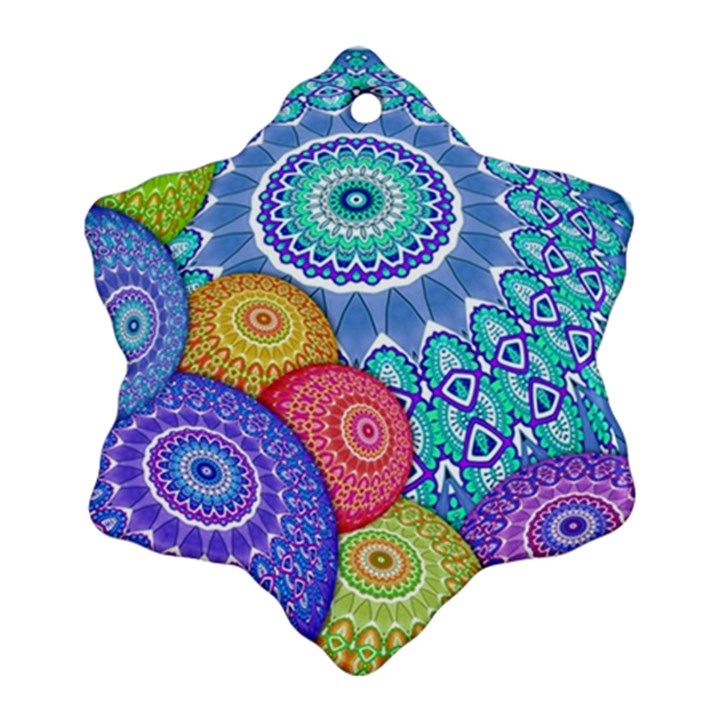 India Ornaments Mandala Balls Multicolored Snowflake Ornament (2-Side)