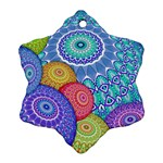 India Ornaments Mandala Balls Multicolored Snowflake Ornament (2-Side) Back