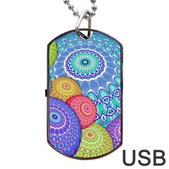 India Ornaments Mandala Balls Multicolored Dog Tag Usb Flash (one Side)