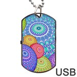 India Ornaments Mandala Balls Multicolored Dog Tag USB Flash (Two Sides)  Back