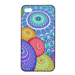 India Ornaments Mandala Balls Multicolored Apple iPhone 4/4s Seamless Case (Black)