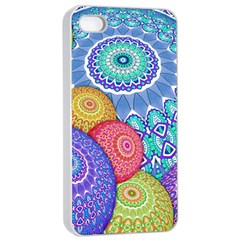 India Ornaments Mandala Balls Multicolored Apple Iphone 4/4s Seamless Case (white)
