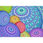 India Ornaments Mandala Balls Multicolored Circle Bottom 3D Greeting Card (7x5) Back