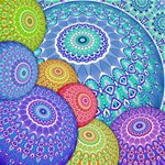 India Ornaments Mandala Balls Multicolored PARTY 3D Greeting Card (8x4) Inside